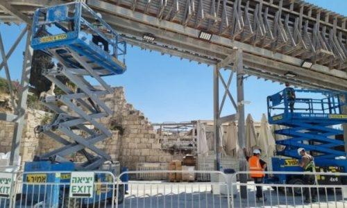 עבודות התחזוקה בגשר המוגרבים   צילום: הקרן למורשת הכותל המערבי