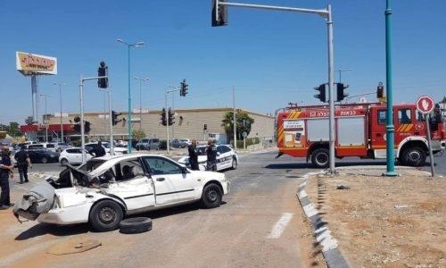 זירת התאונה   צילום: דוברות המשטרה