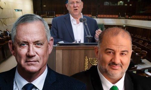 גנץ ינסה לקבל את המנדט מנשיא המדינה באמצעות עבאס | צילום: פלאש90 / עיבוד חן
