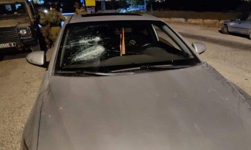 רכבו של הרב אליקים לבנון שהותקף אמש