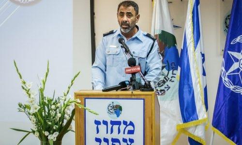 שמעון לביא נואם בטקס חילופי מפקד משטרת מחוז צפון, ב-9 ביולי 2019. צילום: פלאש90