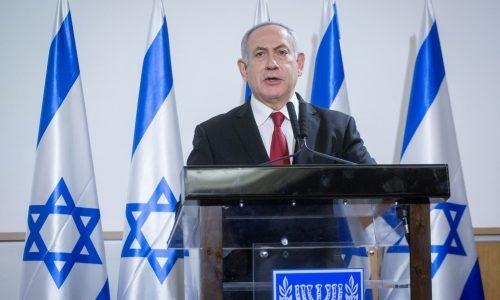 נתניהו בהצהרה מהקריה בתל אביב // צילום: פלאש 90