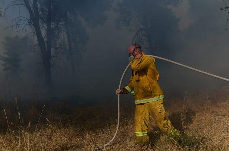 כבאי נלחם להשיג שליטה על האש | צילום: Tomer Neuberg/Flash90