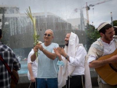 נטילת ארבעת המינים היום בתל אביב// צילום: מרים אלסטר/פלאש 90