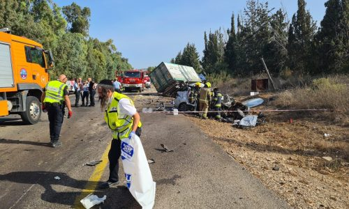 זירת התאונה// צילום: אהרן ברוך לייבוביץ
